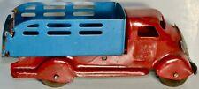 RARE PREWAR RED & BLUE PRESSED STEEL STAKE TRUCK MADE IN U.S.A. CIRCA 1930s