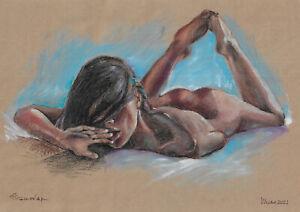 original drawing A3 875DO art samovar modern pastel female nude Signed 2021