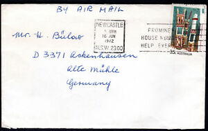 1971 Australia 35c SOLO Aboriginal Arts Grave Air Mail OAKLEIGH VIC to Germany