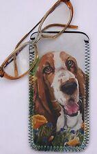 BASSET HOUND DOG NEOPRENE GLASS CASE POUCH DESIGN PRINT SANDRA COEN ARTIST