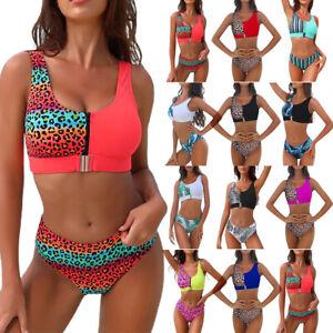 Women Sport Padded Bra Crop Top Bikini Set Swimwear Swimsuit Bathing Beachwear