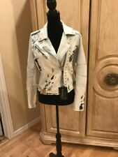Blank NYC Festival  Embroidered And Studded Denim Moto Jacket Size Large~NWT