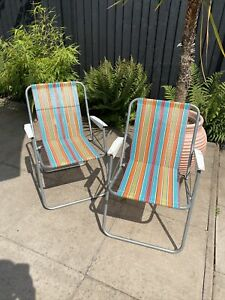 Vintage Multi Coloured Metal Framed Fold Up Chairs Camping Metal Handles