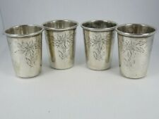 "Four .835 Silver Kiddush Cups ""Shot Glasses"""