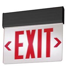LED Emergency Exit Sign 110/120V Red Edgelit Illuminated Letters Universal Mount