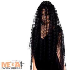 Black Widow Veil Ladies Fancy Dress Halloween Gothic Corpse Costume Accessory