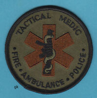 TACTICAL MEDIC FIRE POLICE SHOULDER  PATCH 3 INCH SUBDUED  (green / brown)