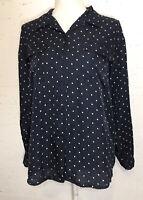 Anna And Frank Women Blouse Shirt Sz M Long Sleeve Top Silk Polka Dot Blue Print