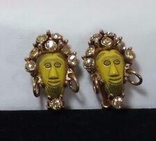 Vintage Gold Selro Selini African King Yellow Ice Rhinestone Clip Earrings