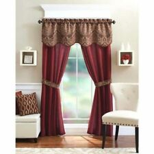 Window 5 Piece Curtain Set 2 Panels Valance Assorted Colors Home Sheer Drapes Brick