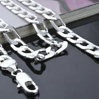 """Hot 925 Sterling Silver Filled Plated Curb Chain necklace 16"""" 18"""" 20"""" 22"""" 24"""""""