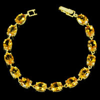 22CT. REAL ORANGISH YELLOW CITRINE 9X7 MM. OVAL STERLING 925 SILVER BRACELET 8