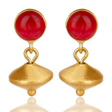 Handmade 14k Yellow Gold Plated Gemstone Drops Earrings Antique Fashion Jewelry