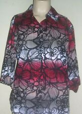 KIM ROGERS Women's  Sz Small   Button Front Blouse 3/4 Sleeves  100% Cotton