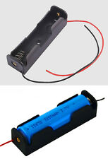 "6 PCS 18650 Battery Holder Box 3.7 V Clip  Case Black With 6"" Wire Lead Storage"