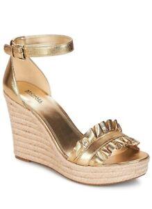 WMN MK Michael Kors Bella Wedge Buckle Up Sandals Metallic Leather Pale Gold