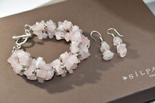 Silpada RARE B0929 Rose Quartz Bracelet And W1005 Earrings HTF