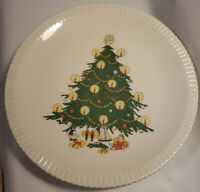 "Lot of 8 Atlas China 10"" Christmas Tree Dinner Plates Pie Crust Edge Vintage"
