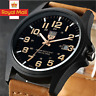 Men Women Military Leather Date Watches Quartz Analog Army Casual Wrist Watch UK