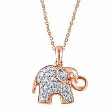 14K Ross Gold Plated Diamond Accent Elephant Pendant by Unique Design