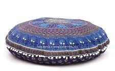 Indiano Pouf Grandi Cuscini Pavimento Pavone Mandala Cuscini Rotondi Coprono