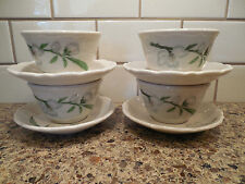 Vintage SYRACUSE CHINA PARK LANE DOGWOOD Set of 4 Cream Soup Bowls and Saucers