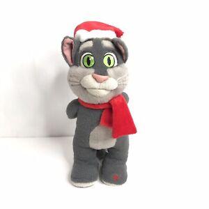 "RARE Talking Friends Talking Tom Christmas Cat Plush in Santa Hat & Scarf 12"""
