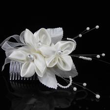 Tiara Hair Accessories Satin Flowers Petals Rhinestone Beads Wedding Gesteck
