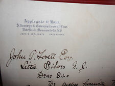 ANTIQUE LETTER FROM THE LAWFIRM OF APPLEGATE AND HOPE MONMOUTH COUNTY NJ 1888