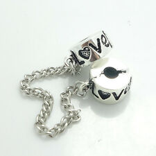1PCS Silver Stopper Locks Beads Clip Safety Chain To Fit Charm Bracelet SH141
