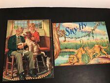 Vintage 1930s Children's Puzzles (2) Sky-High Series Lion & Blimp / Vet & Dog