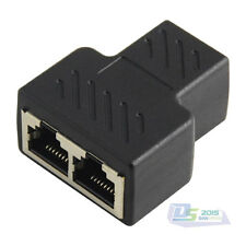RJ45 Ethernet Cable LAN Port 1 to 2 Female Socket Splitter Connector Top Adapter