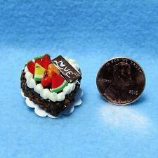 Dollhouse Miniature Love Heart Cake Chocolate with Fruit