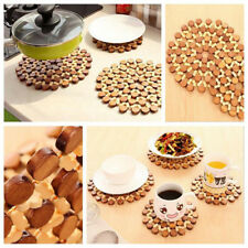 Bamboo Round Anti-Slip Dining Pad Kitchen Placemats Insulation Tableware Coaster