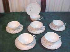 12pc Beautiful Vintage Creative Platinum Star Burst Decorative Cups & Saucers