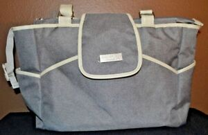 Just One You by Carter Large Fashion Tote Baby Diaper Bag Gray Flap+Zip Closure
