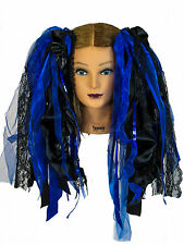 Dreadful Falls Black & Royal Blue Ribbon Gothic Fairy Hair Falls Belly Dancing