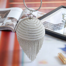 Round evening bag Metal Tassel Party Ladies Chain Handbag Pearl Crystal Design