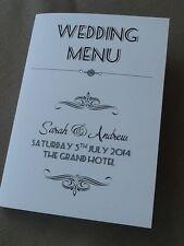 10 x Handmade Personalised Wedding Table Menu Booklets Cards - Vintage Art Deco
