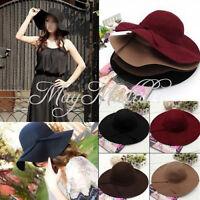 Vintage Soft Women Lady Wide Brim Wool Felt Bowler Fedora Hat Floppy Cloche Q