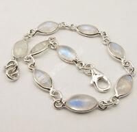 "925 Sterling Silver MARQUISE RAINBOW MOONSTONE LOVELY Bracelet 7.9"" 6.1 Grams"