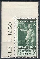 1938 AFRICA ORIENTALE ITALIANA AUGUSTO 25 CENT LUSSO MNH ** - RR12367