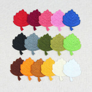 45x55mm Embroidery Leaf Patches Iron on Sew On Patch Badge Kids Clothes Applique