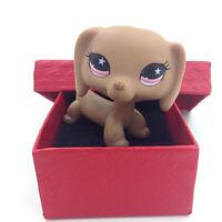 LPS #932 Littlest Pet Shop Rare Dachshund Dog Pink Eyes Brown Puppy Kid Toy Gift