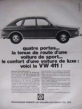 PUBLICITÉ PRESSE 1968 VOLKSWAGEN VW 411 SPORT QUATRES PORTES - ADVERTISING