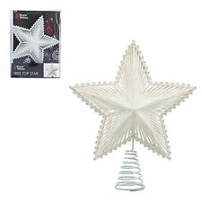 Christmas Tree Top Star 200mm Full Glitter Decoration - White