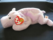 Rare 3rd / 2nd Generation P.V.C. Ty Beanie Babies - Happy the Hippo Tag Errors