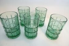Lot 5 Anchor Hocking Teal Dark Green Glass Tumbler Small Weighted Bottom