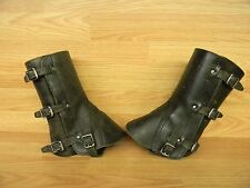 GRADE 2 SWISS ARMY SURPLUS LEATHER GAITERS ,CAMPING,MOTORCYCLE,SPATS,LEGGINGS