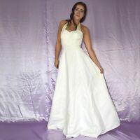 edles Neckholder BRAUTKLEID mit Perlen* XS  glänzendes Hochzeitskleid* Ballkleid